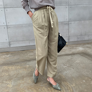 Welt string linen pants