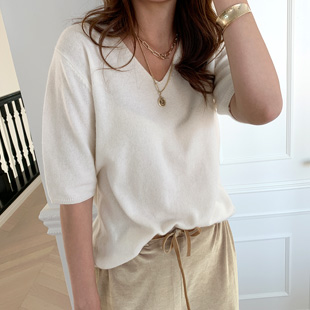 Olish V Neck Short Sleeve Knit